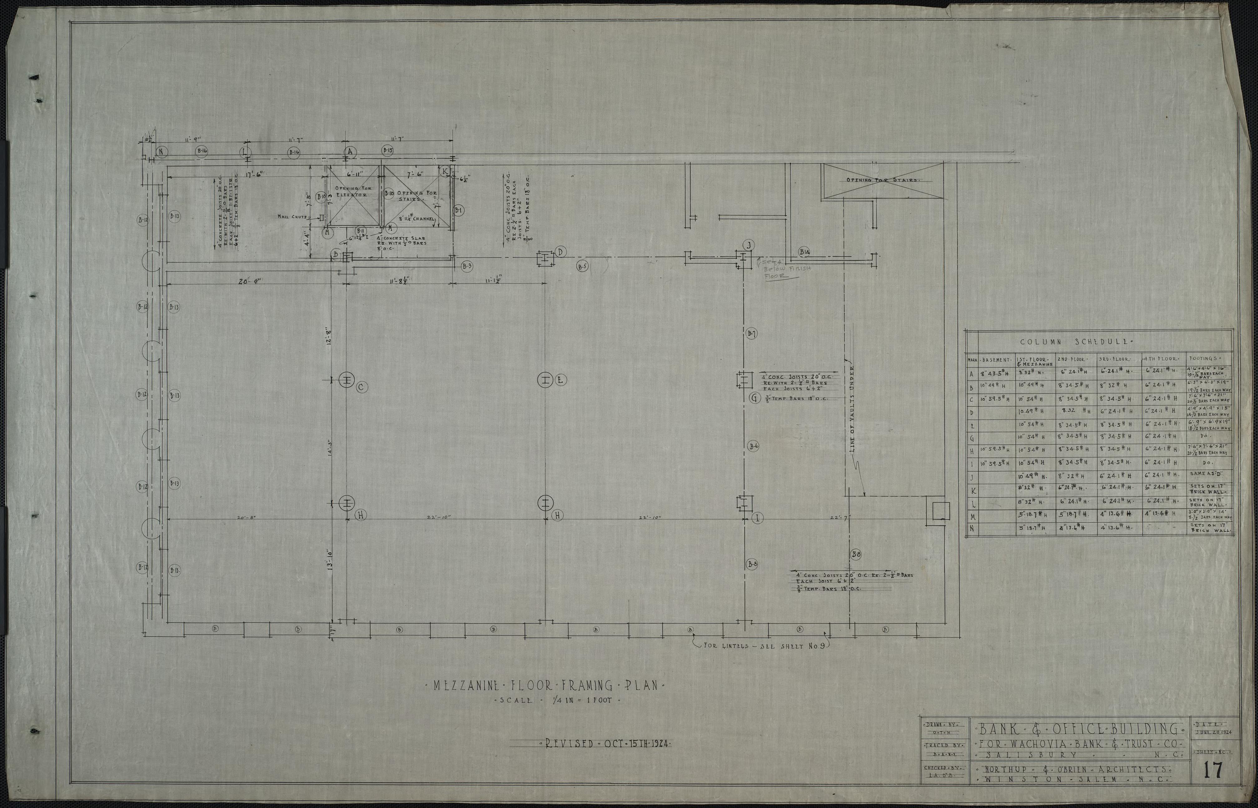 Mezzanine floor framing plan wachovia bank and office for Mezzanine floor construction details