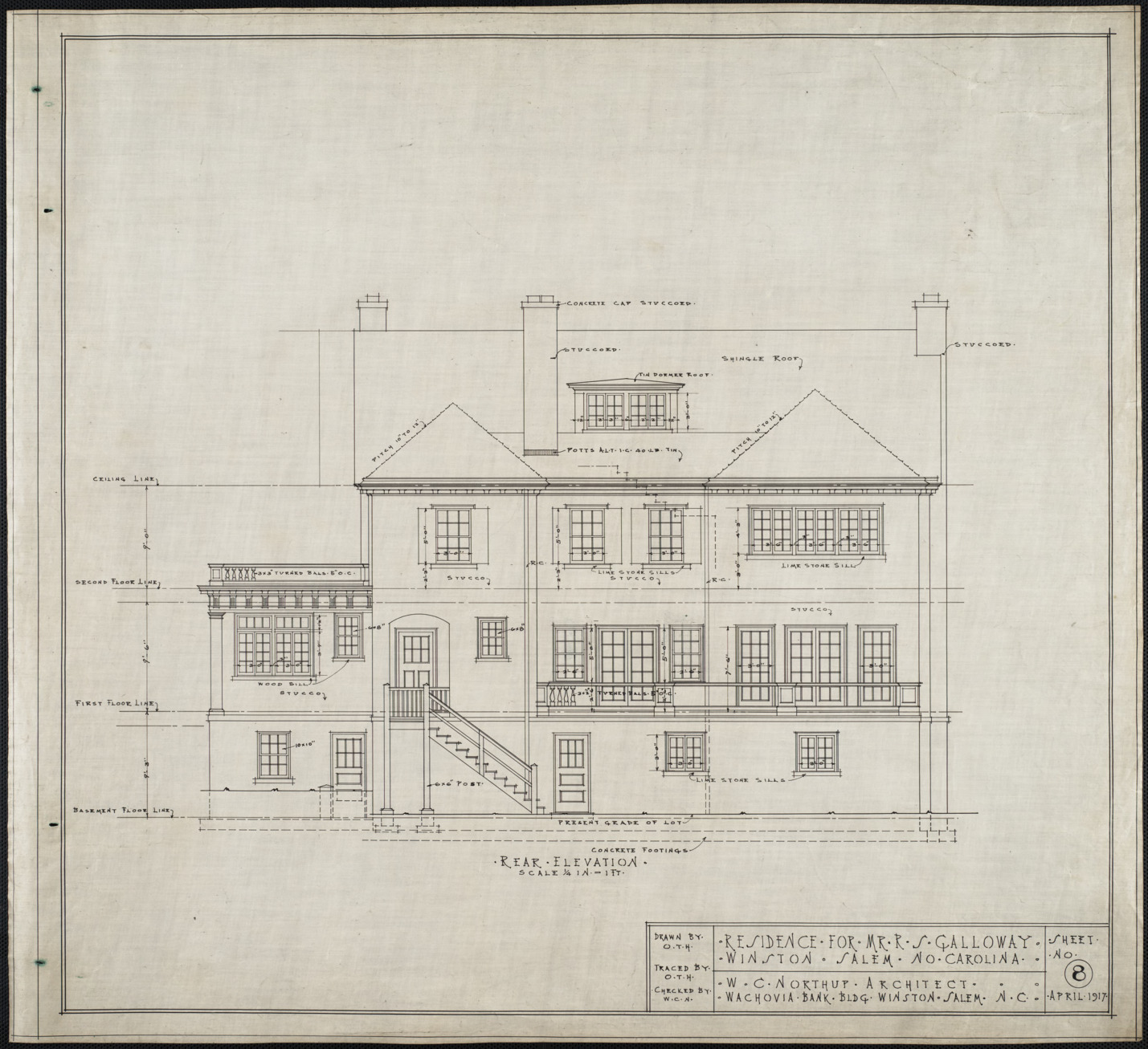 Rear elevation r s galloway house winston salem n c for What is rear elevation