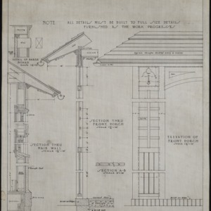 Elevation of front porch, sections of porch