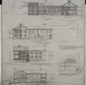 South elevation, north elevation, east (Church Street) elevation, cross section