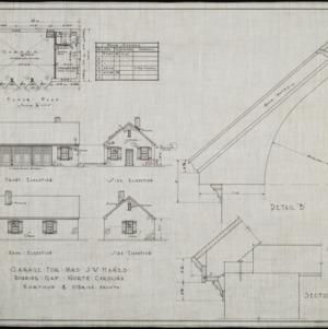 Garage floor plan, front elevation, side elevations, rear elevation, and cornice details