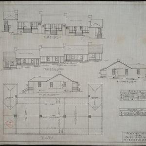 Rear elevation, front elevation, south end elevation, north end elevation, roof plan