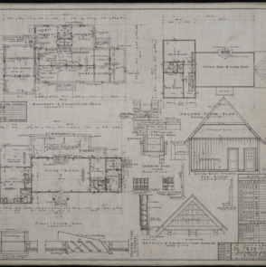 Basement and foundation plan, first floor plan, second floor plan