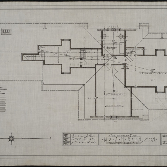 Attic plan, roof plan