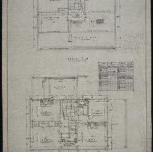 Second floor plan, attic plan
