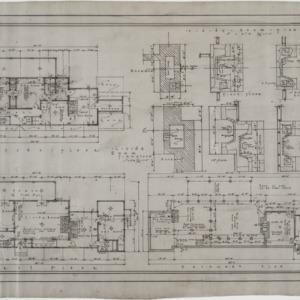 Basement plan, first floor plan, second floor plan