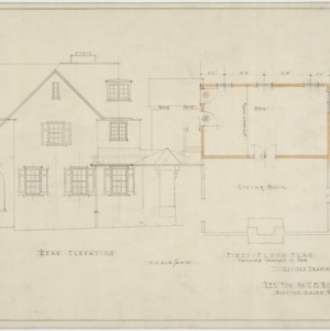 Revised rear elevation, first floor plan