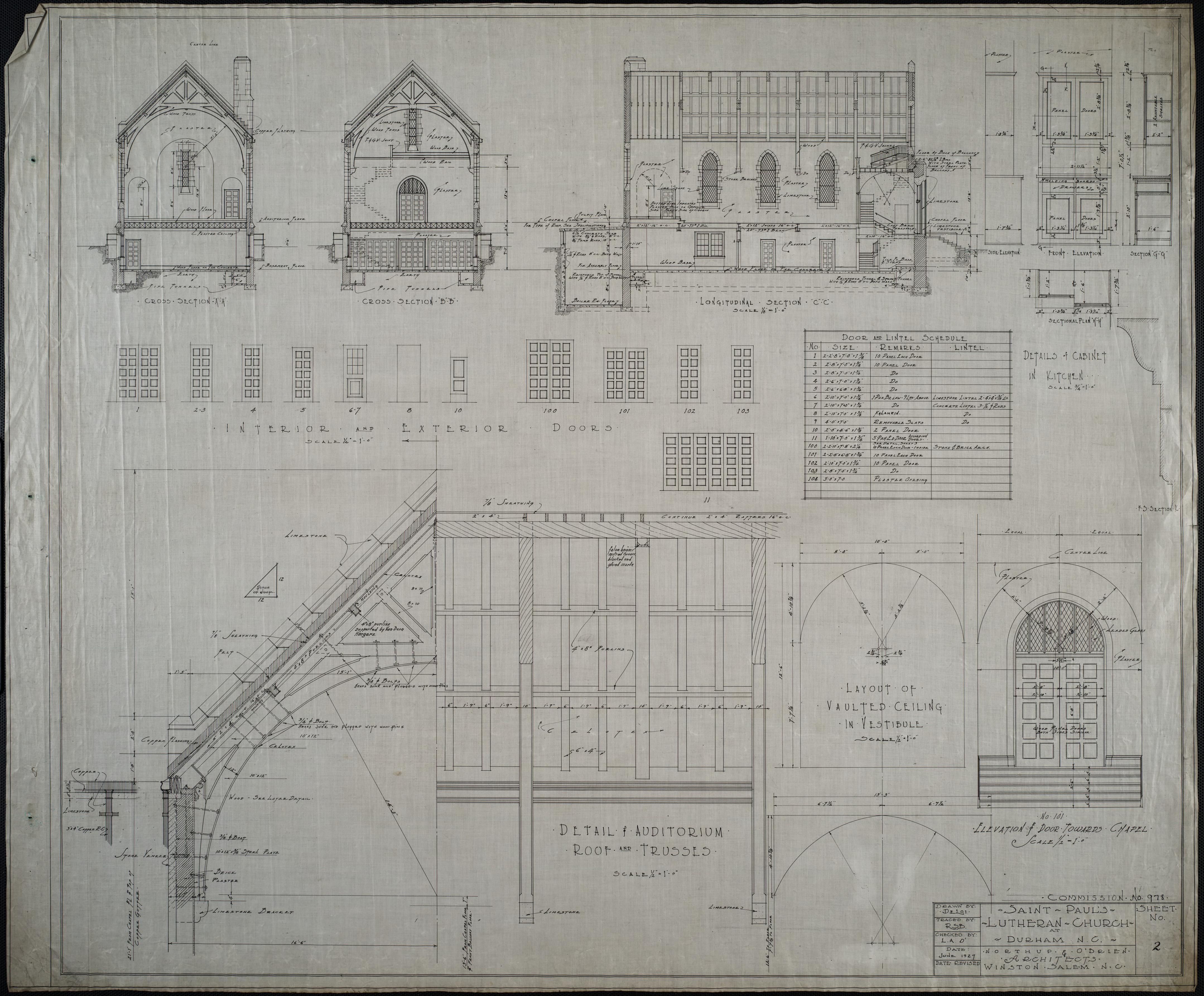 Church Auditorium Drawings Detail of Auditorium Roof