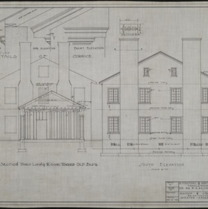 Section thru living room toward old building, south elevation