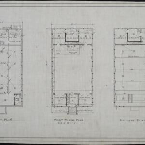 Basement plan, first floor plan, balcony plan