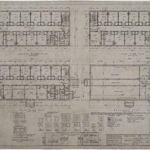 Basement plan, first floor plan, second floor plan, third floor plan