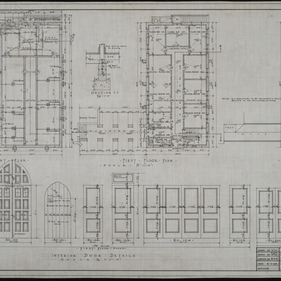 Basement plan, first floor plan, second floor plan, interior door details