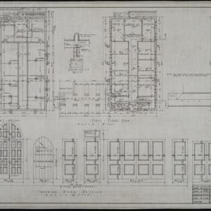 Basement plan, first floor plan, second floor plan, interior door details