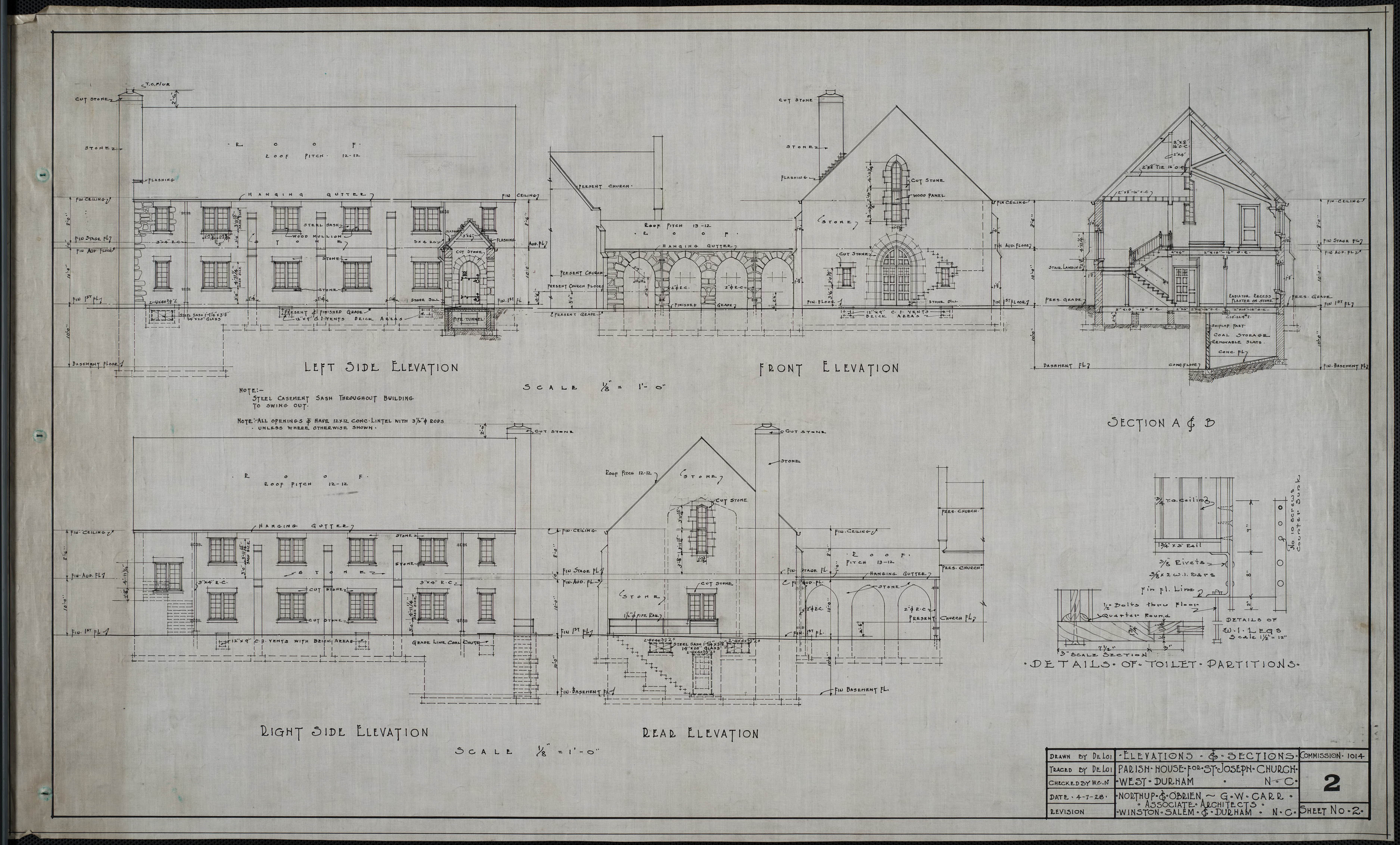 Left side elevation, front elevation, right side elevation, rear elevation