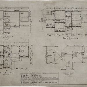 Basement plan, first floor plan, second floor plan, roof plan