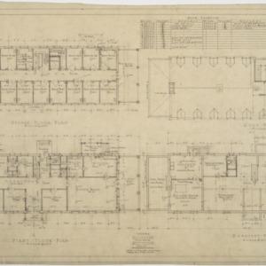 Basement plan, first floor plan, second floor plan, roof plan