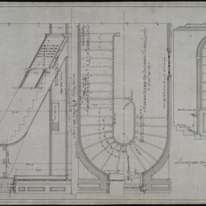 Elevation of window and circular stairs