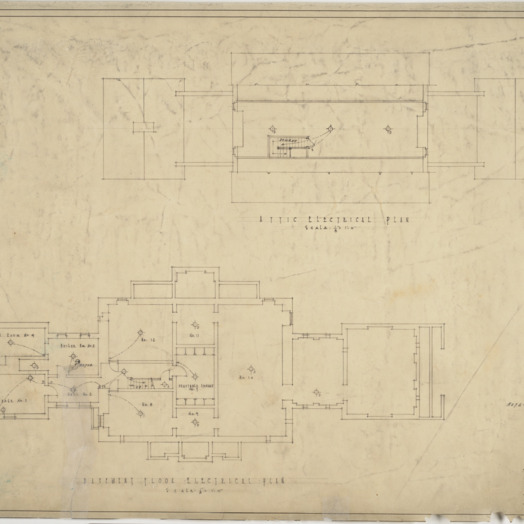 Attic electrical plan, basement electrical plan