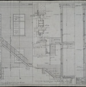 Part elevation of auditorium wing, sections