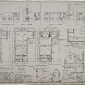 Basement plan, first floor plan, second floor plan, elevations, sections
