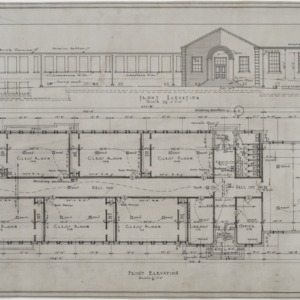 Front elevation, floor plan