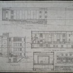 Wallace Street elevation, east elevation, longitudinal section thru auditorium