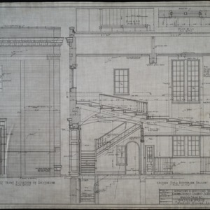 Part front elevation of auditorium, section thru auditorium balcony