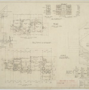 First floor plan, second floor plan, detail of stairs