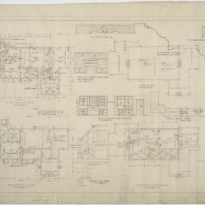 Basement plan, first floor plan, second floor plan, interior details