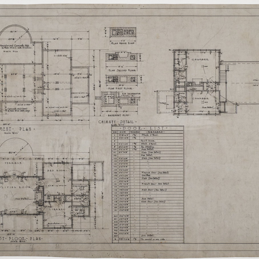Basement plan, first floor plan, roof plan