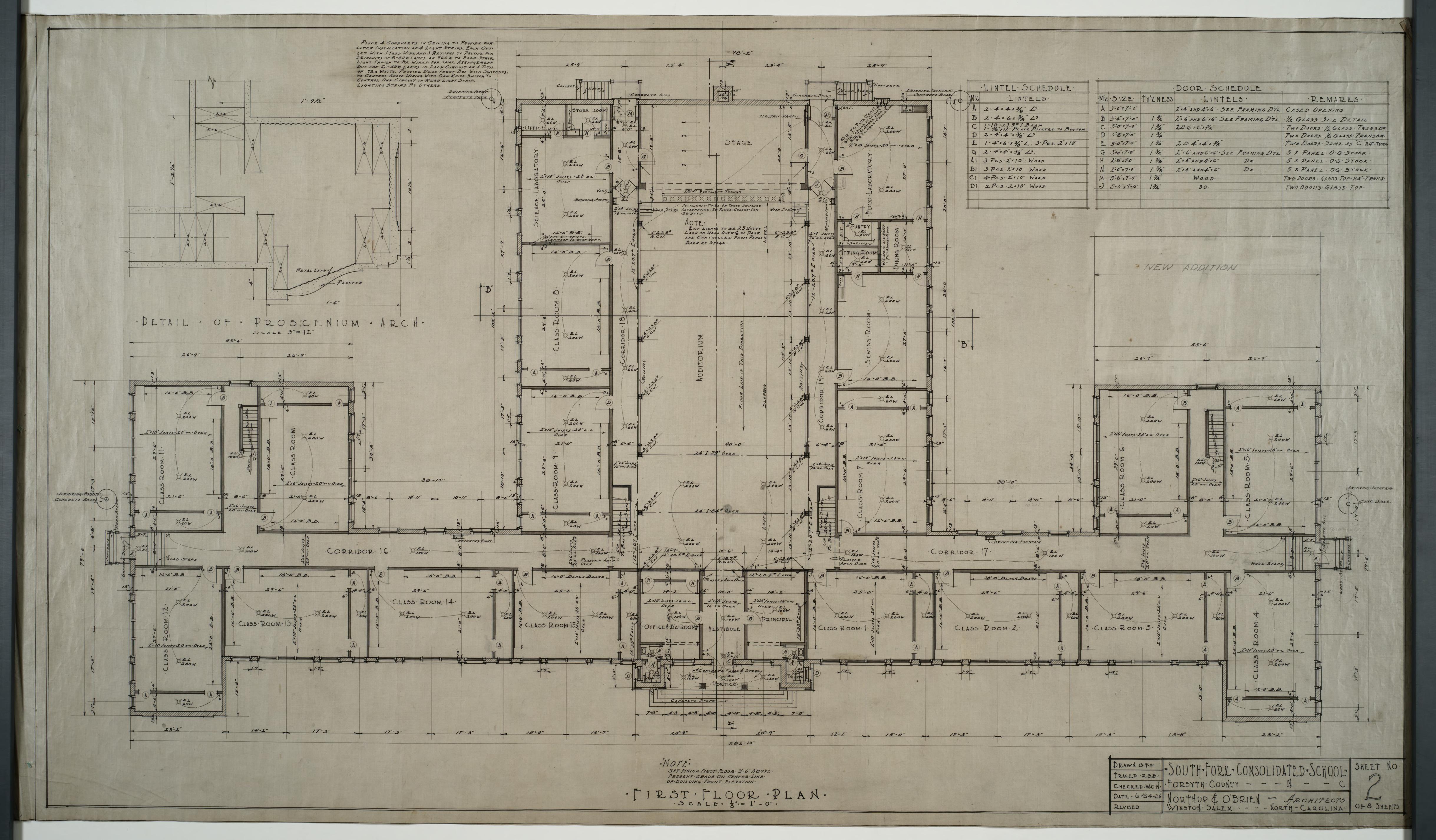 First floor plan proscenium arch detail door schedule for Southfork ranch house floor plan