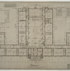 First floor plan, proscenium arch detail, door schedule, lintel schedule