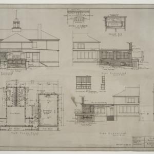 Rear elevation, side elevation, main floor plan, foundation plan, various details