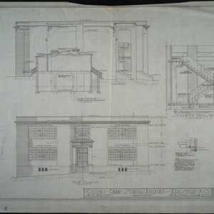 front elevation, rear elevation and section