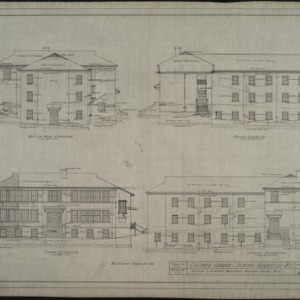 West or rear elevation, north elevation, front elevation, south elevation