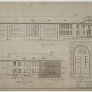 East elevation, north elevation, door details