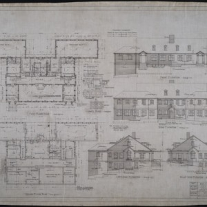 Ground floor plan, first floor plan, elevations