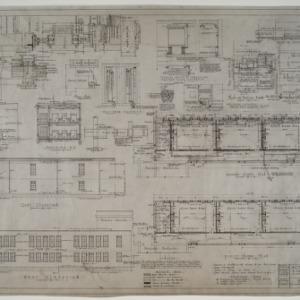 Elevations, heating plan, ground floor plan, and first floor plan
