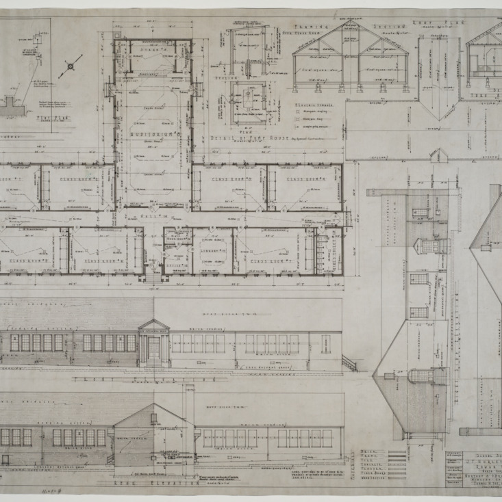 Elevations, floor plan, roof plan, plot plan, structural details