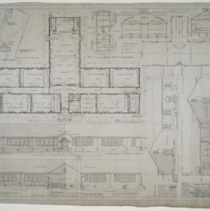 Elevations, first floor plan, plot plan, roof plan, sectional details