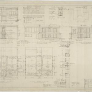 Elevations, basement plan, first floor plan