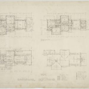 First floor plan, second floor plan, basement floor plan, roof plan