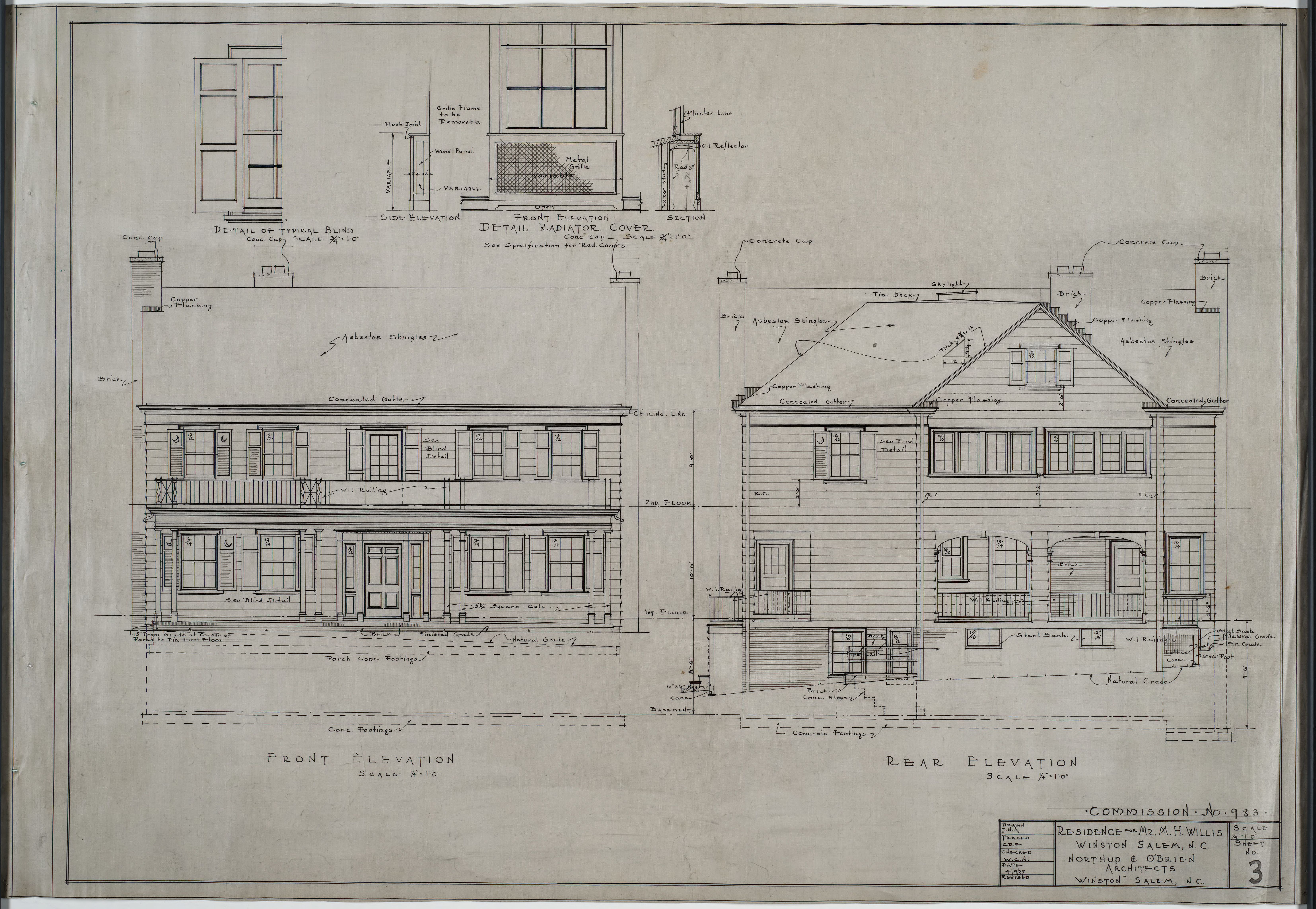 Front elevation rear elevation m h willis house for What is rear elevation