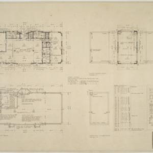 Basement plan, first floor plan, third floor plan