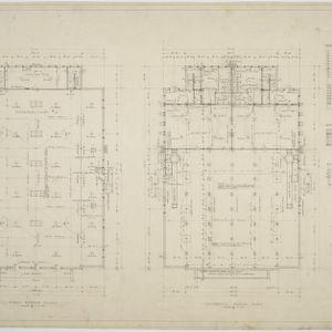 First floor plan, basement floor plan