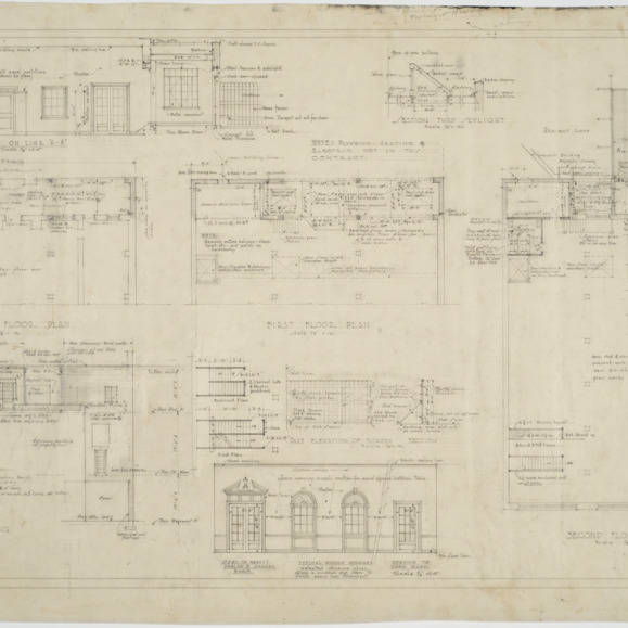 Basement floor plan, first floor plan, second floor plan