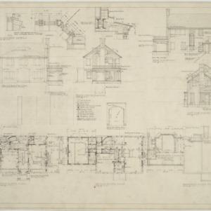 First floor plan, second floor plan, basement floor plan, elevations