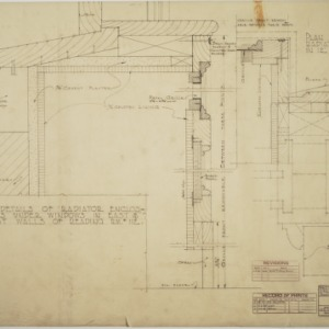 Details of radiator enclosures under windows in east and west walls of reading room