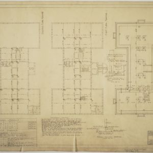 Footing and foundation plan, first floor framing plan, second floor framing plan