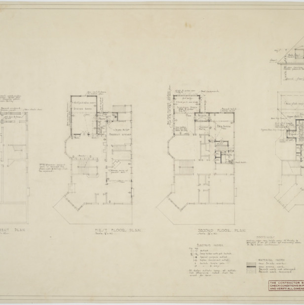 Basement plan, first floor plan, second floor plan, third floor plan